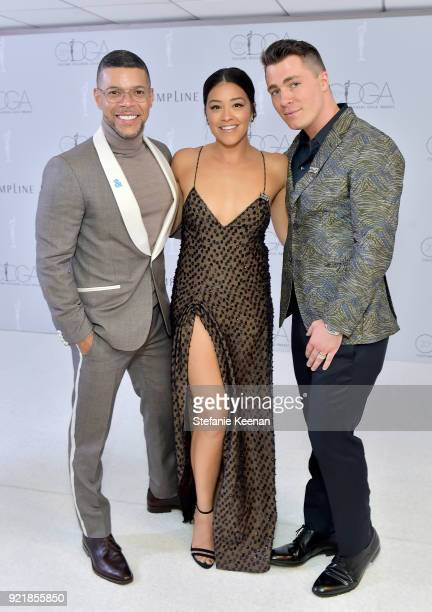 Actor Wilson Cruz host Gina Rodriguez and actor Colton Haynes attend the Costume Designers Guild Awards at The Beverly Hilton Hotel on February 20...