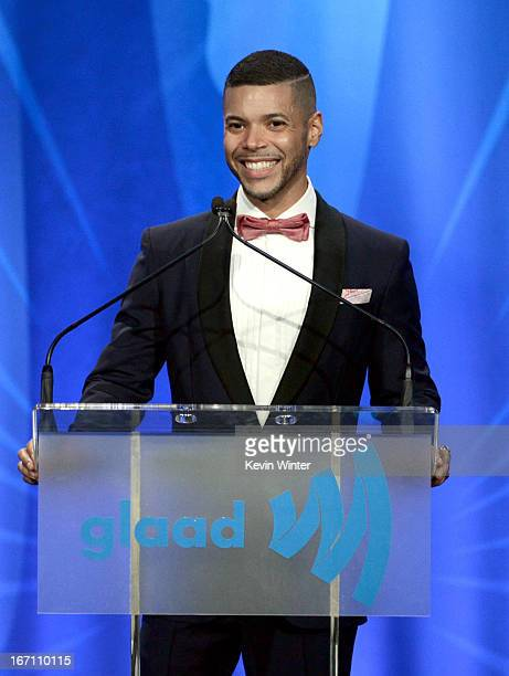 Actor Wilson Cruz speaks onstage during the 24th Annual GLAAD Media Awards at JW Marriott Los Angeles at LA LIVE on April 20 2013 in Los Angeles...