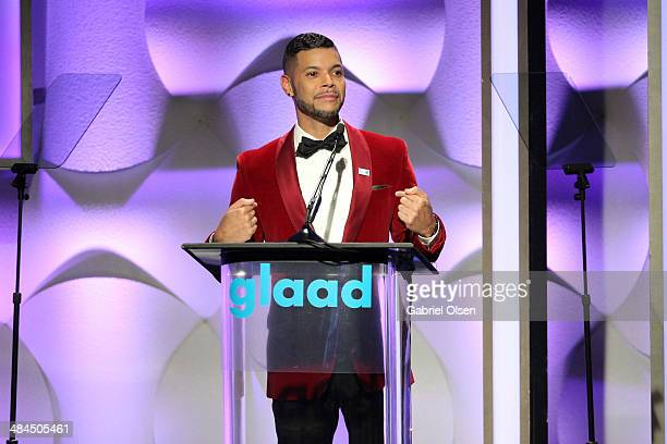 Actor Wilson Cruzonstage during the 25th Annual GLAAD Media Awards at The Beverly Hilton Hotel on April 12 2014 in Los Angeles California