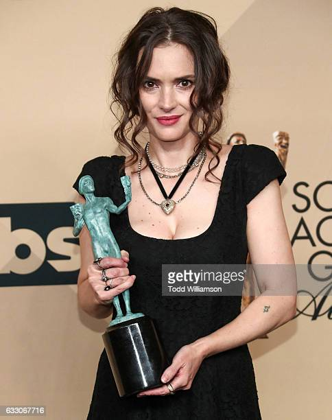 Actor Winona Ryder recipient of the Outstanding Ensemble in a Drama Series award for 'Stranger Things' poses in the press room at 23rd Annual Screen...