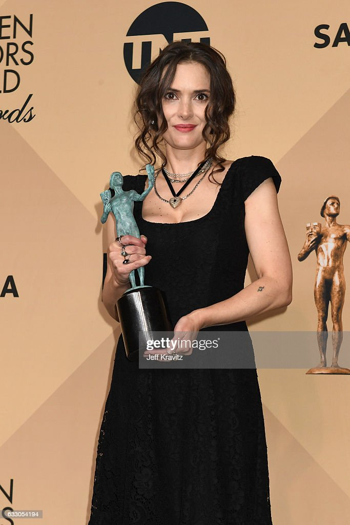 Actor Winona Ryder, winner of the Outstanding Ensemble in a Drama Series award for 'Stranger Things', poses in the press room during the 23rd Annual Screen Actors Guild Awards at The Shrine Expo Hall on January 29, 2017 in Los Angeles, California.