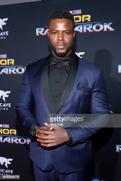 "Actor Winston Duke at The World Premiere of Marvel Studios' ""Thor: Ragnarok"" at the El Capitan Theatre on October 10, 2017 in Hollywood, California."