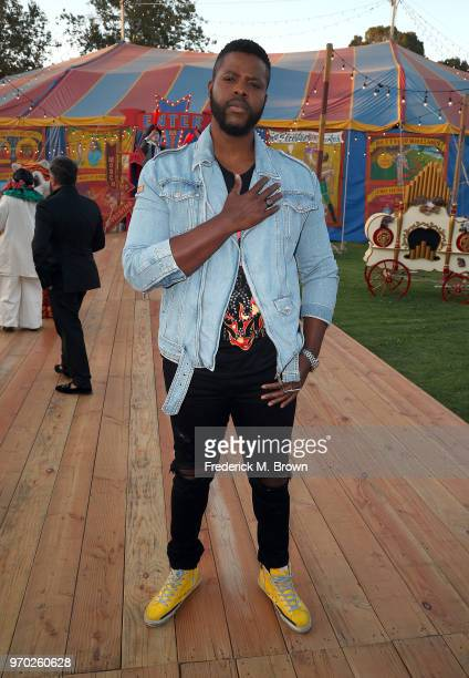 Actor Winston Duke attends Moschino Spring/Summer 19 Menswear and Women's Resort Collection at the Los Angeles Equestrian Center on June 8 2018 in...