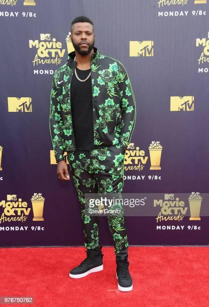 Actor Winston Duke attends the 2018 MTV Movie And TV Awards at Barker Hangar on June 16 2018 in Santa Monica California