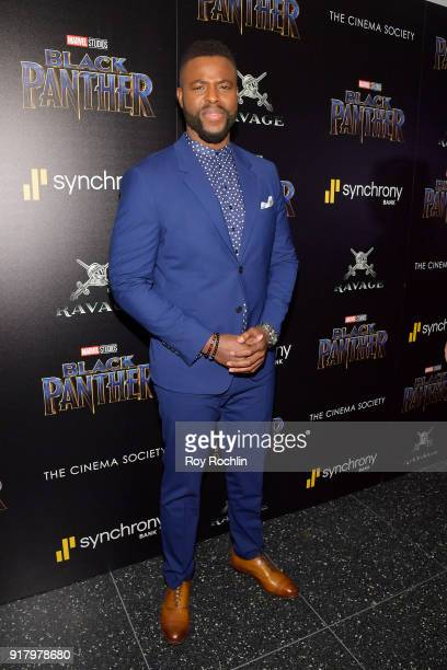 "Actor Winston Duke attends the screening of Marvel Studios' ""Black Panther"" hosted by The Cinema Society on February 13, 2018 in New York City."