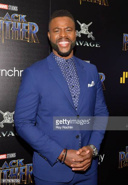 Actor Winston Duke attends the screening of Marvel Studios' Black Panther hosted by The Cinema Society on February 13 2018 in New York City