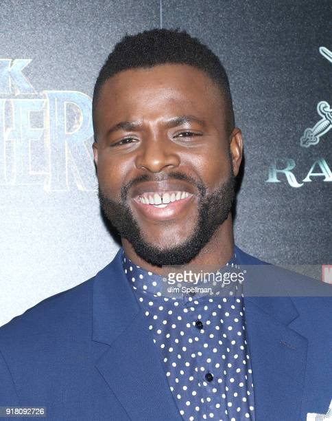 "Actor Winston Duke attends the screening of Marvel Studios' ""Black Panther"" hosted by The Cinema Society with Ravage Wines and Synchrony at Museum of..."