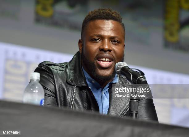 Actor Winston Duke from Marvel Studios' 'Black Panther' at the San Diego Comic-Con International 2017 Marvel Studios Panel in Hall H on July 22, 2017...