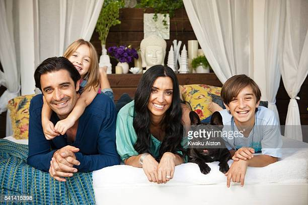 Actor with family on daybed Wife Carole Juliana and Georges