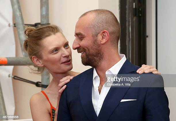 Actor Wojciech Mecwaldowski and Agata Buzek attend a photocall for '11 Minutes' during the 72nd Venice Film Festival at Palazzo del Casino on...