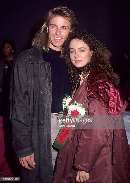 Actor Wolf Larson and actress Lydie Denier attend the 60th Annual Hollywood Christmas Parade on December 1 1991 at the KTLA Studios in Hollywood...
