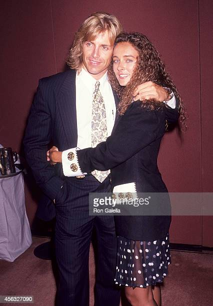 Actor Wolf Larson and actress Lydie Denier attend the Syndicated Television Summer TCA Press Tour on August 1 1991 at the Universal Hilton Hotel in...