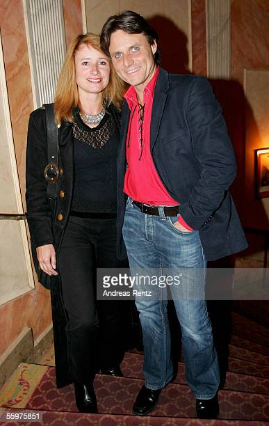 Actor Wolfgang Bahro and his wife Barbara Bahro attend the aftershow party of the theatrical production premiere Jedermann at the Opera cafe on...