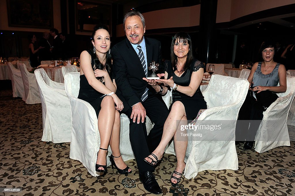 Actor Wolfgang Stumph and his wife Christine with daughter Stephanie attend the 'Felix Burda Award' at hotel Adlon on April 18, 2010 in Berlin, Germany.