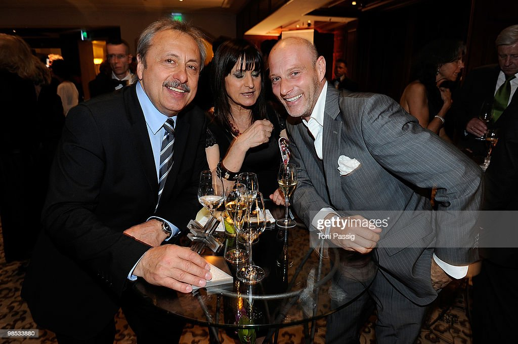 Actor Wolfgang Stumph and his wife Christine with Simon Licht attend the 'Felix Burda Award' at hotel Adlon on April 18, 2010 in Berlin, Germany.
