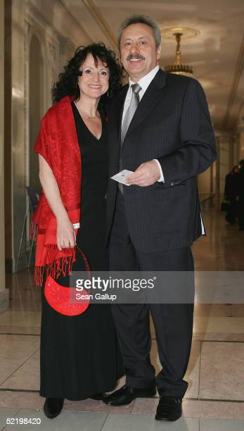 Actor Wolfgang Stumph and wife arrive at the Cinema For Peace Awards on February 14 2005 in Berlin Germany