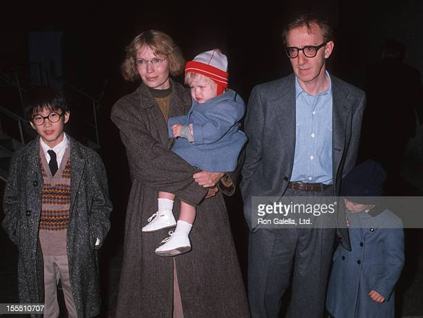 Actor Woody Allen actress Mia Farrow and children attend The Apple Circus Performance on November 3 1989 in New York City