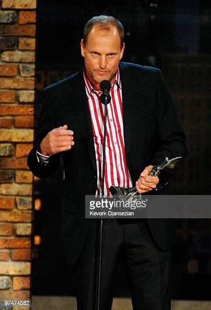 Actor Woody Harrelson accepts Best Supporting Male award for The Messenger onstage during the 25th Film Independent's Spirit Awards held at Nokia...