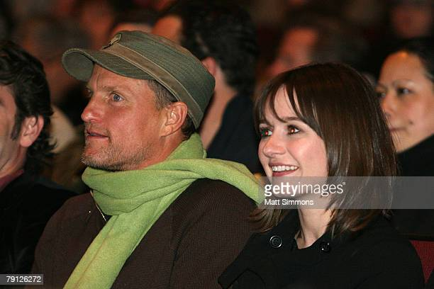 Actor Woody Harrelson and Actress Emily Mortimer attends the Transsiberian premiere during the 2008 Sundance Film Festival at the Eccles Theatre on...