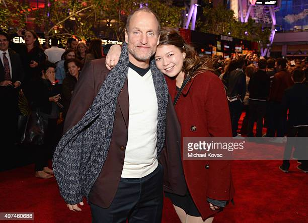 Actor Woody Harrelson and daughter Zoe Harrelson attend Hunger Games Mockingjay Part 2 Los Angeles Premiere Sponsored By Chrysler on November 16 2015...