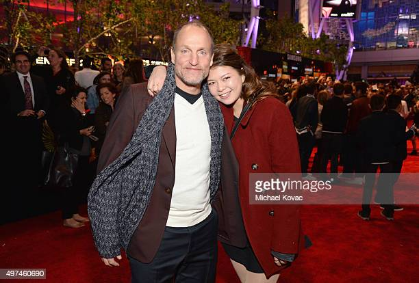 Actor Woody Harrelson and daughter Zoe Harrelson attend 'Hunger Games Mockingjay Part 2' Los Angeles Premiere Sponsored By Chrysler on November 16...