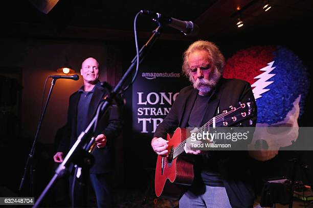 Actor Woody Harrelson and musician Bob Weir perform onstage during the Amazon Studios celebration of Long Strange Trip at the 2017 Sundance Film...