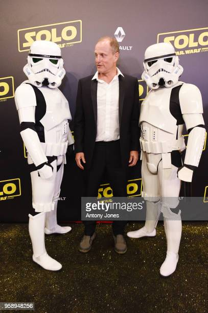 Actor Woody Harrelson and Stormtroopers attend a 'Solo A Star Wars Story' party at the Carlton Beach following the film's out of competition...