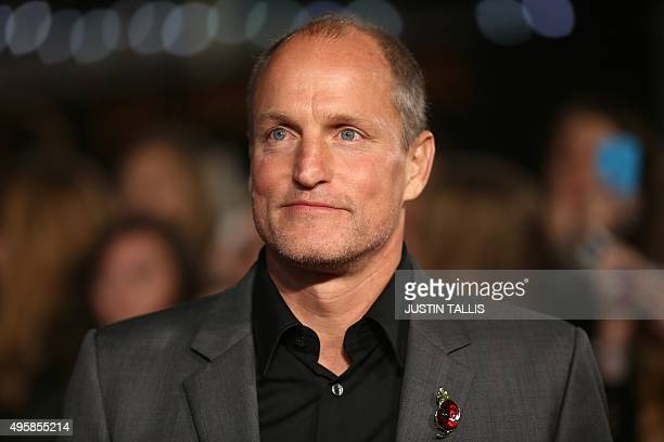 """Actor Woody Harrelson arrives on the red carpet to attend the UK Premiere of the film """"The Hunger Games: Mockingjay Part 2"""" in central London on..."""