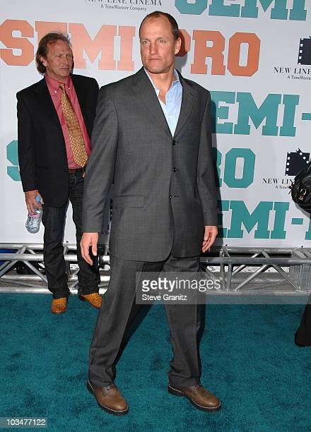 "Actor Woody Harrelson arrives to the ""Semi-Pro"" Los Angeles premiere at the Mann Village Theatre on February 19, 2008 in Westwood, California."