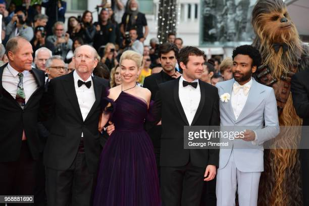 Actor Woody Harrelson director Ron Howard actress Emilia Clarke actor Alden Ehrenreich actor Donald Glover and Chewbacca attend the screening of...
