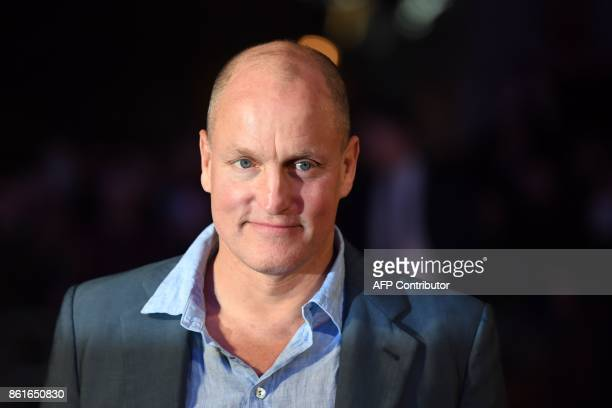 US actor Woody Harrelson poses on the red carpet attending the UK premiere of the film Three Billboards Outside Ebbing Missouri during the closing...