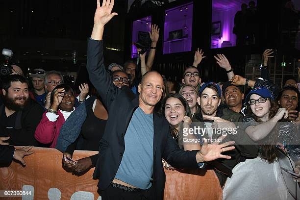 Actor Woody Harrelson poses with fans at 'The Edge Of Seventeen' premiere during the 2016 Toronto International Film Festival at Roy Thomson Hall on...