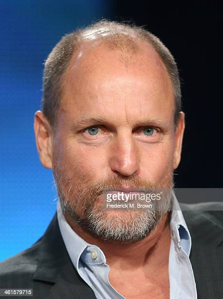 Actor Woody Harrelson speaks onstage during the 'True Detective' panel discussion at the HBO portion of the 2014 Winter Television Critics...