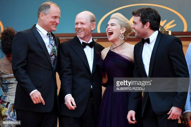 TOPSHOT US actor Woody Harrelson US director Ron Howard British actress Emilia Clarke and US actor Alden Ehrenreich pose as they arrive on May 15...