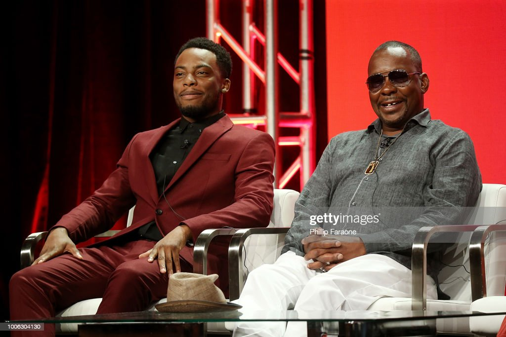Actor Woody McClain (L) and recording artist Bobby Brown of the television show 'The Bobby Brown Story' speak during the Viacom segment of the Summer 2018 Television Critics Association Press Tour at the Beverly Hilton Hotel on July 27, 2018 in Beverly Hills, California