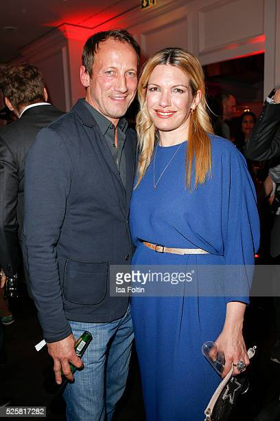 Actor Wotan Wilke Moehring and sky sport moderator Jessica Kastrop during the Telekom Entertain TV Night Party at Hotel Zoo on April 28 2016 in...