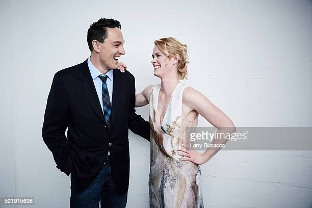 Actor writer and producer Wally MarzanoLesnevich and actress Abigail Hawk from Almost Paris pose at the Tribeca Film Festival Getty Images Studio on...