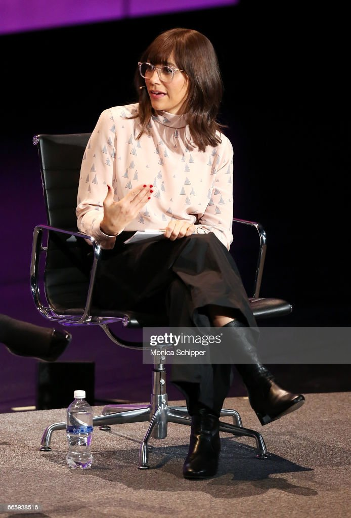 Actor, Writer, Producer and Activist Rashida Jones speaks on stage at the 8th Annual Women In The World Summit at Lincoln Center for the Performing Arts on April 7, 2017 in New York City.