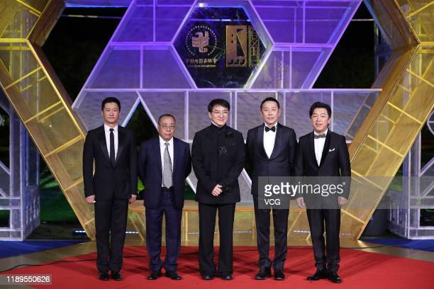 Actor Wu Jing actor Jackie Chan actor Chen Daoming and actor Huang Bo attend the closing ceremony of the 28th China Golden Rooster And Hundred...