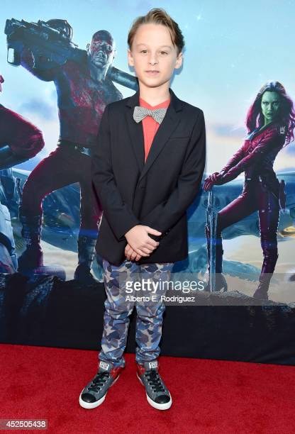 "Actor Wyatt Oleff attends The World Premiere of Marvel's epic space adventure ""Guardians of the Galaxy"" directed by James Gunn and presented in Dolby..."