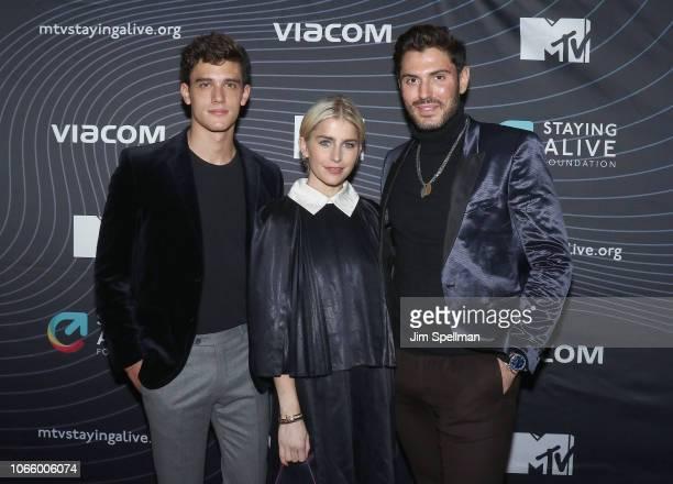 Actor Xavier Serrano model Caroline Daur and Joey Zauzig attend the MTV Staying Alive Foundation 20th Anniversary gala at Gustavino's on November 27...