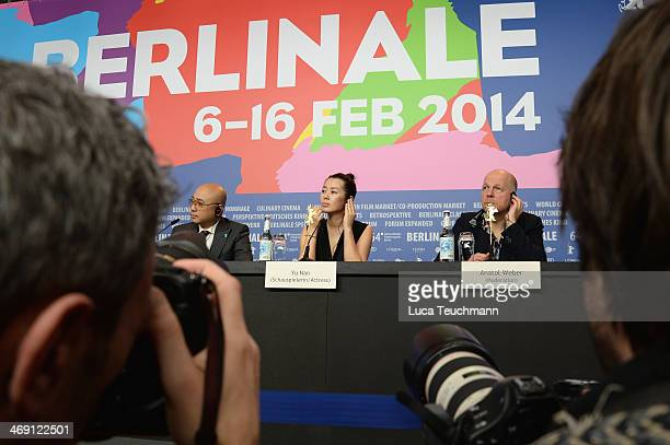 Actor Xu Zheng actress Yu Nan and host Anatol Weber attend the 'No Man's Land' press conference during 64th Berlinale International Film Festival at...