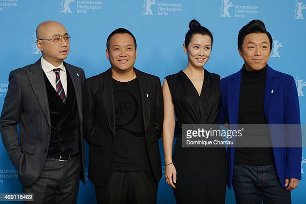 Actor Xu Zheng director Ning Hao actress Yu Nan and actor Huang Bo attend the 'No Man's Land' photocall during 64th Berlinale International Film...