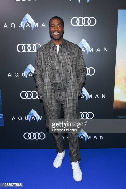 Actor Yahya Abdul Mateen II attends the Aquaman exclusive blue carpet fan screening held at the Scotiabank Theatre on December 17 2018 in Toronto...