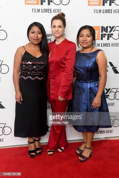 Actor Yalitza Aparicio, Actor Marina De Tavira, and Actor Nancy Garcia attend the premiere of ROMA during the 56th New York Film Festival at Alice...