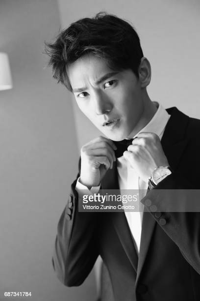 Actor Yang Yang prepares backstage at Majestic Hotel on May 23 2017 in Cannes France