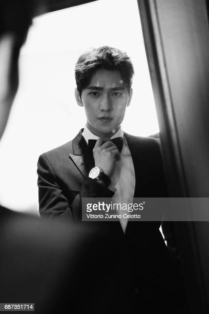 Actor Yang Yang prepares backstage at Majestic Hotell on May 23 2017 in Cannes France
