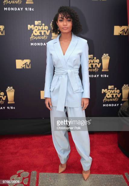 Actor Yara Shahidi attends the 2018 MTV Movie And TV Awards at Barker Hangar on June 16 2018 in Santa Monica California