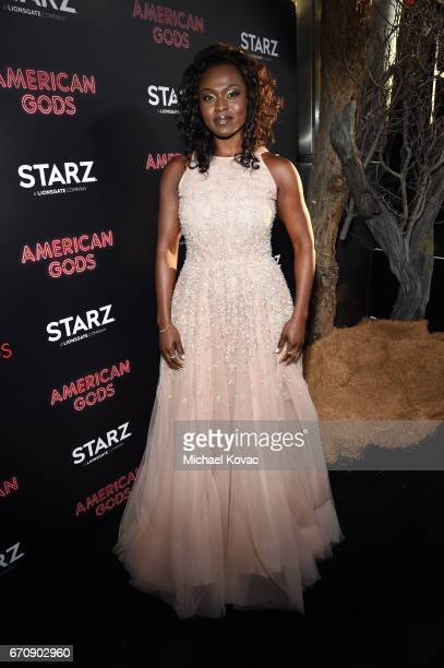 Actor Yetide Badaki attends the American Gods premiere at ArcLight Hollywood on April 20 2017 in Los Angeles California