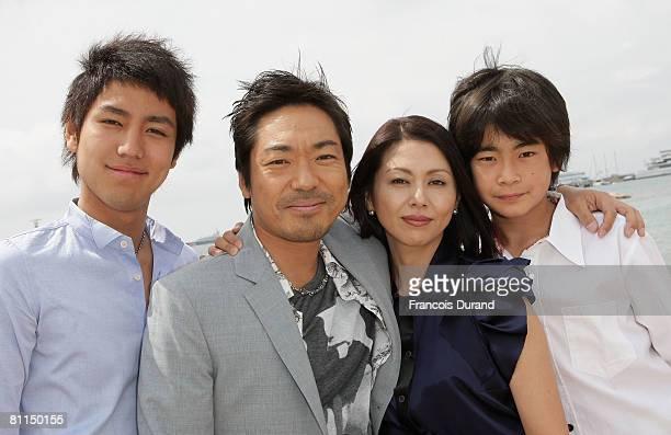 Actor Yu Koyanagi Teruyuki Kagawa Actress Kyoko Koizumi Actor Kai Inowaki attend the Tokyo Sonata Cast Photocall at Majestic Beach during the 61st...